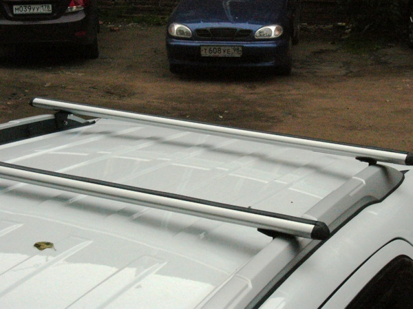 Багажник на крышу Ford Ecosport 2014-... с интегрированными рейлингами, Атлант, аэродинамические дуги