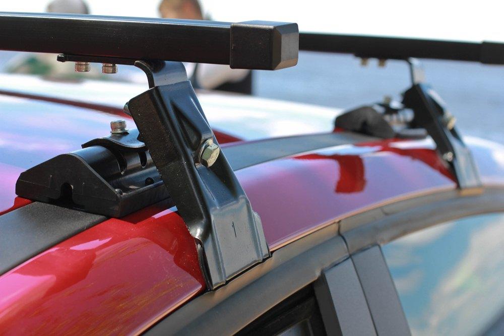Универсальный багажник на крышу Lada XRay, Евродеталь, вид А, стальные прямоугольные дуги