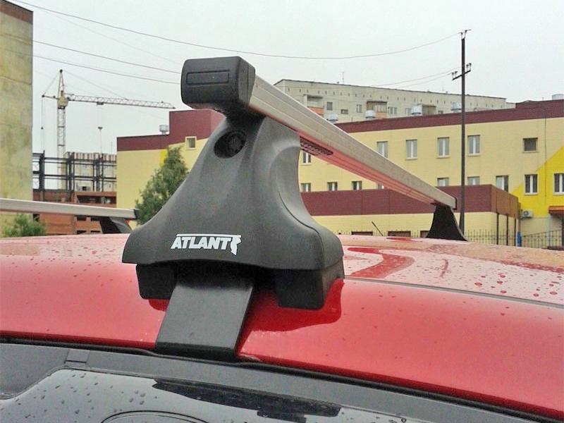 Багажник на крышу Skoda Fabia MK2 (hatchback), Атлант, прямоугольные дуги, опора Е